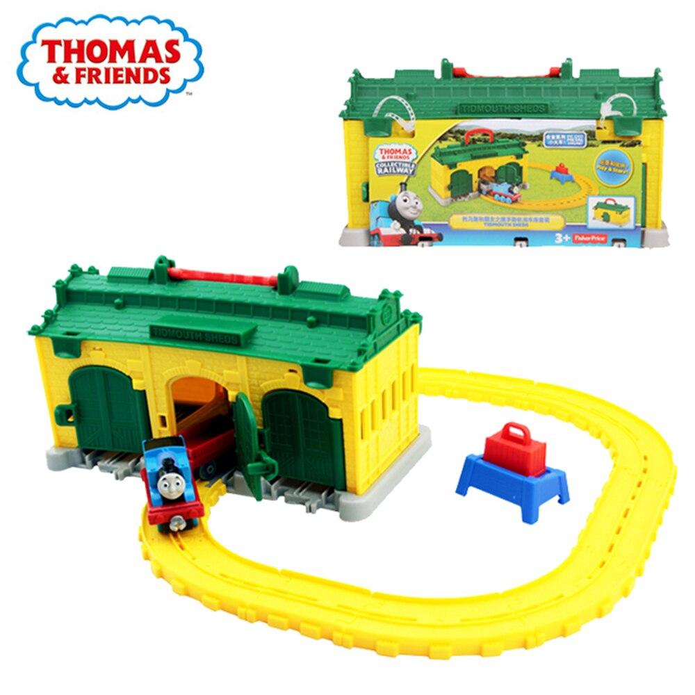 Original Thomas & Friends le Train Tidmouth hangars moulé sous pression en métal moteur Playset à collectionner chemin de fer en bois Train piste jouets