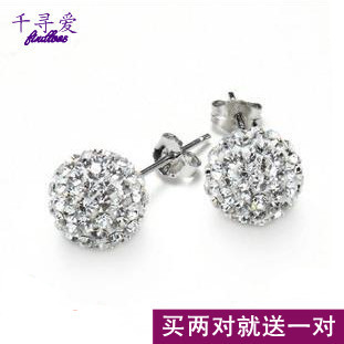 925 pure silver stud earring crystal ball stud earring full rhinestone round ball stud earring pure silver female birthday gift