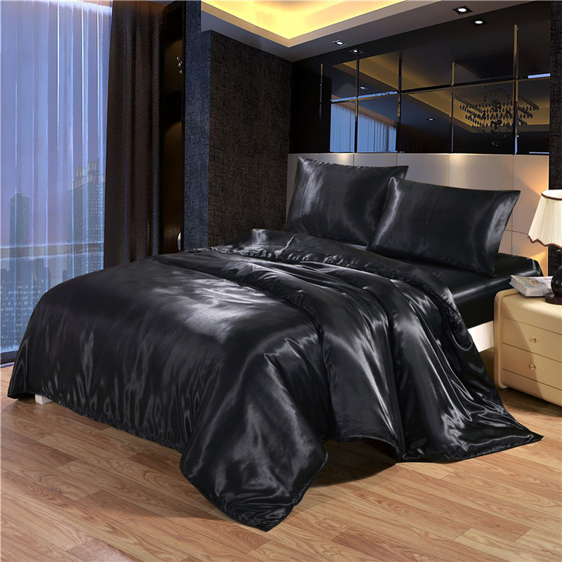 White Black Bedding Sets King Double Size Satin Silk Summer Used Single Bed Linen China Luxury Bedding Kit Duvet Cover Set