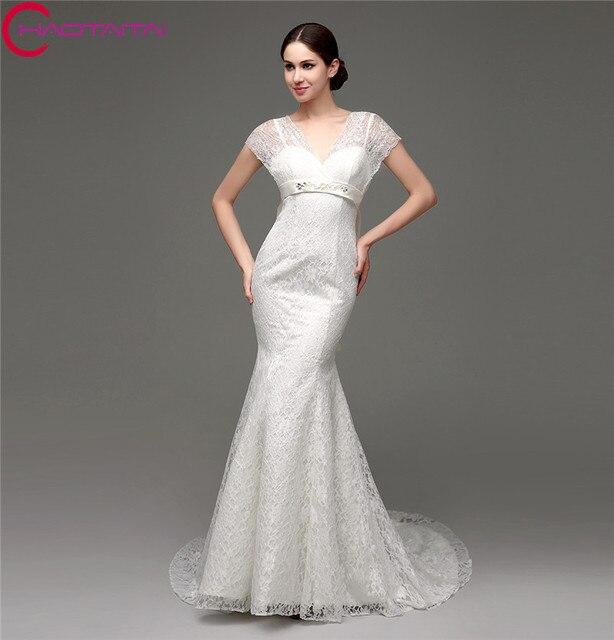 Tanie Biały Piękne Koronki Przystępne Suknia ślubna Syrenka Modest
