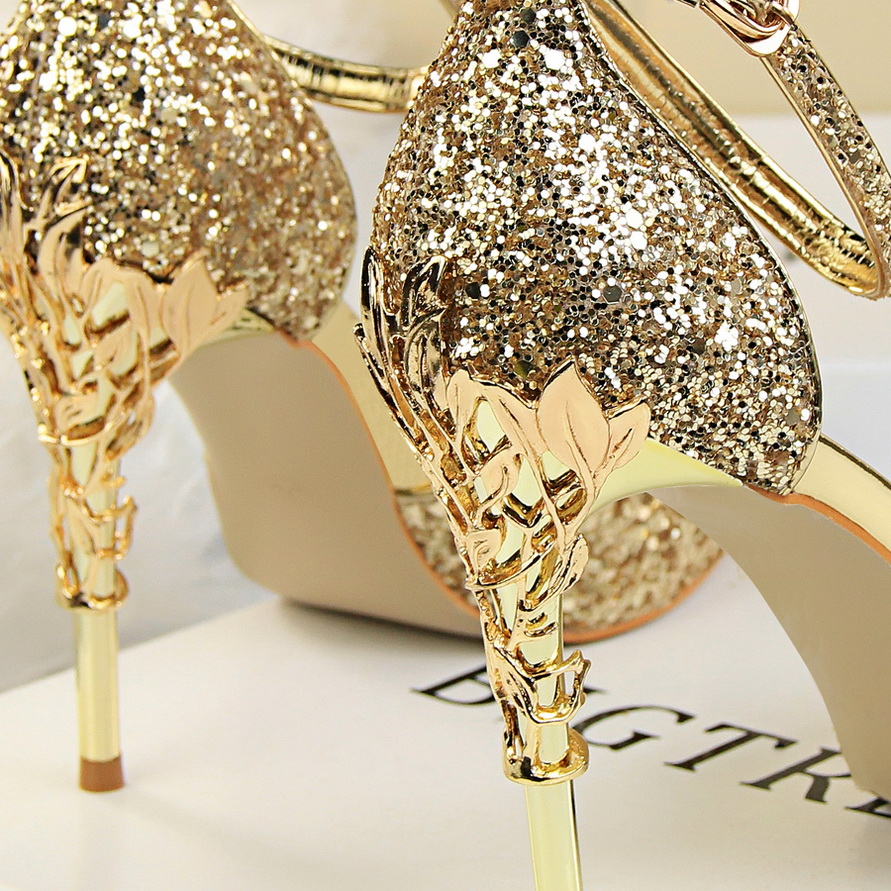 Mujeres Stiletto Metal Scarpins 2018 Height 10cm 40 Bombas Brillo Oro Nupcial Heel Boda heel Cm Sandalias Tacones Altos Tamaño 10cm 10 Correa Atractivas dFFwqOC