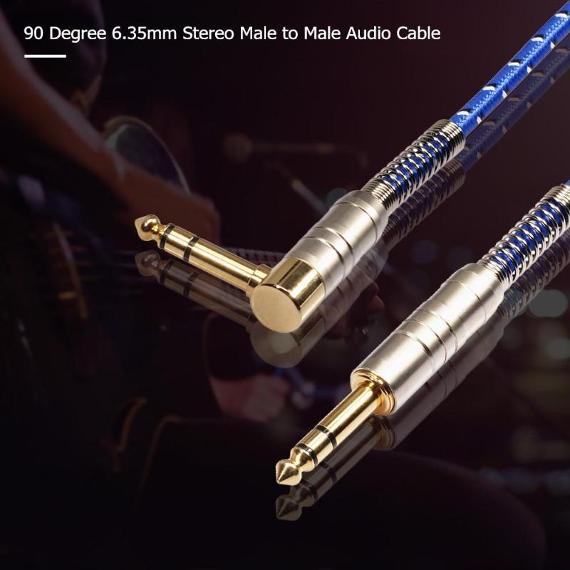 Image 3 - 90 Degree high quility 6.35mm Stereo Male to Male Audio Cable for electric guitar, microphone, power amplifier combination audio