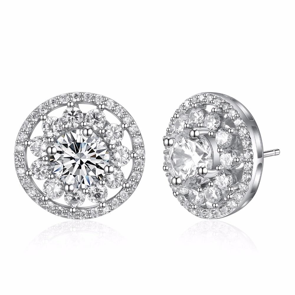 Boucles d'oreilles en argent sterling 925 faites avec des boucles d'oreilles de mariage en zircon cubique AAA claires bijoux en argent sans allergie