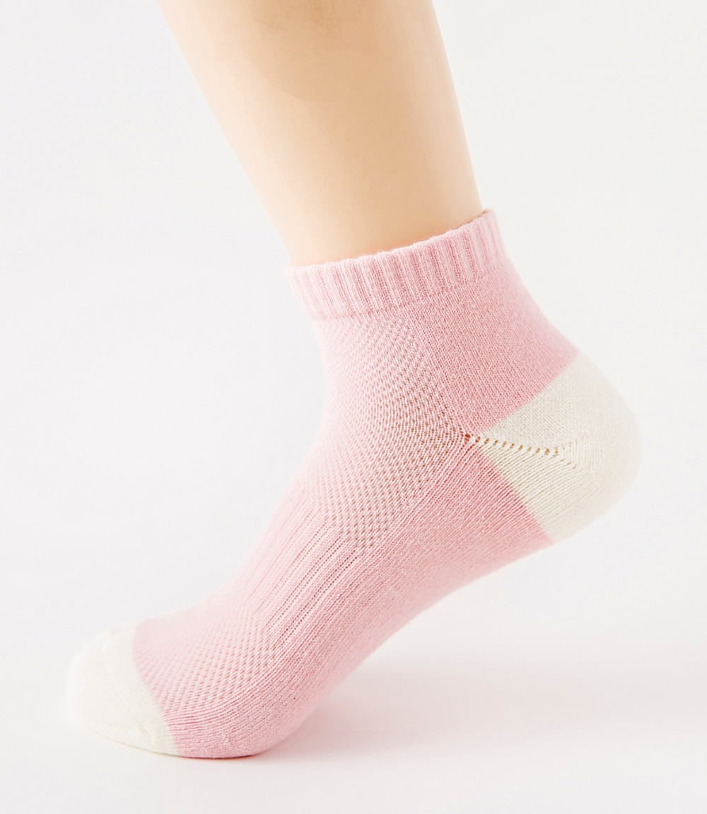 Cotton Women Color Socks Spring Autumn Fashion Sweat Absorb Breathable Half Terry Solid Sport Short Ankle Socks