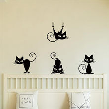 Cartoon Black Cat Wall Sticker DIY Family Home Wall Sticker For Kitchen Removable Mural Decals Vinyl Art Room Decor(China)