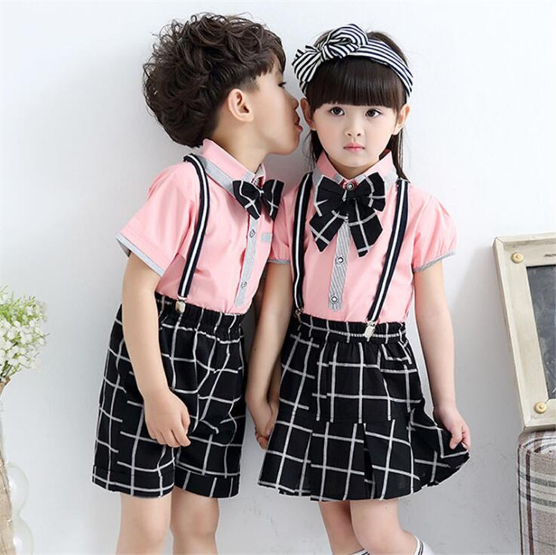 82471b69ec14 Weoneit 2019 Summer Korean Fashion Children s Sets Baby Boys And Girls  School Uniform 2 Pieces Plaid Pants Kids Clothes-in Clothing Sets from  Mother   Kids ...
