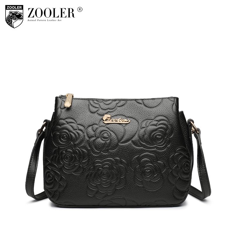 ZOOLER Brand Fashion Women Genuine Leather Messenger Bags Ladies Floral Shoulder Bag Femble Crossbody Bag for Women Small Bags 2017 fashion all match retro split leather women bag top grade small shoulder bags multilayer mini chain women messenger bags