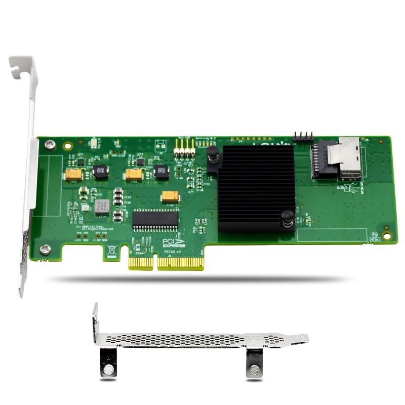 SAS 9211-8I LSI SAS2008 8 port RAID HBA JBOD SATA SFF8087 6Gb PCI-E 2.0 X4 ,SAS Cable not included адаптер dell qlogic 2562 dual port 8gb fibre channel hba pci e x8 full profile kit 406 bbek