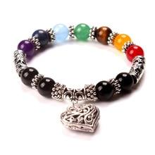 10MM Beads 7 Chakra Bracelets Bangle Mens Womens Healing Crystals Stone Chakra Pray Mala Heart Charm Bracelet Jewelry