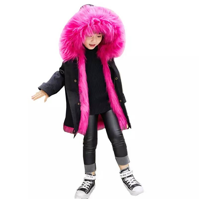 Brand Designer Girls Fur Coat Winter Kids Jackets & Coats Removable Faux Fox Fur Liner Children's Thick Warm Long Jacket Parkas winter fashion kids girls raccoon fur coat baby fur coats