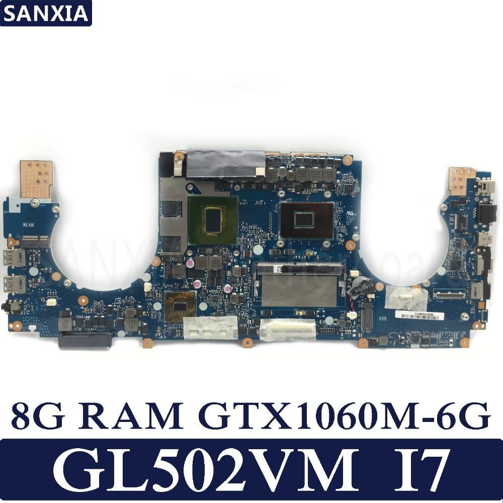 KEFU ROG GL502VM Laptop motherboard for ASUS GL502VM GL502VML GL502V GL502 Test original mainboard 8G RAM I7-6700HQ GTX1060-6G