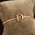 Designer gold plated bracelet D letters jewelry fashion hoop style bangle wedding crystal jewellery for women sz036
