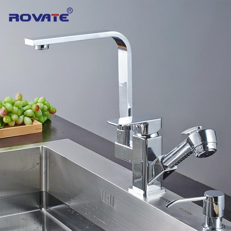 Здесь продается  ROVATE Kitchen Faucet Pull Out Spout 2 Outlet Water Brass Single Hole Deck Mounted Sink Taps Water Mixer  Строительство и Недвижимость