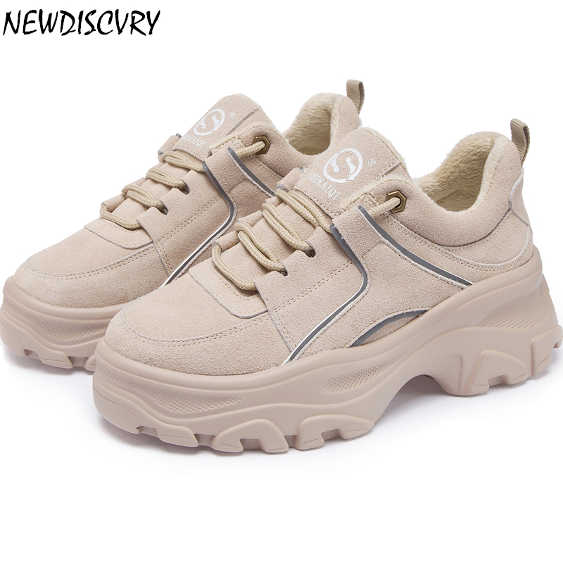 NEWDISCVRY Genuine Leather Women s Chunky Sneakers Winter Warm Women Platform Shoes Fashion Thick Sole Ladies