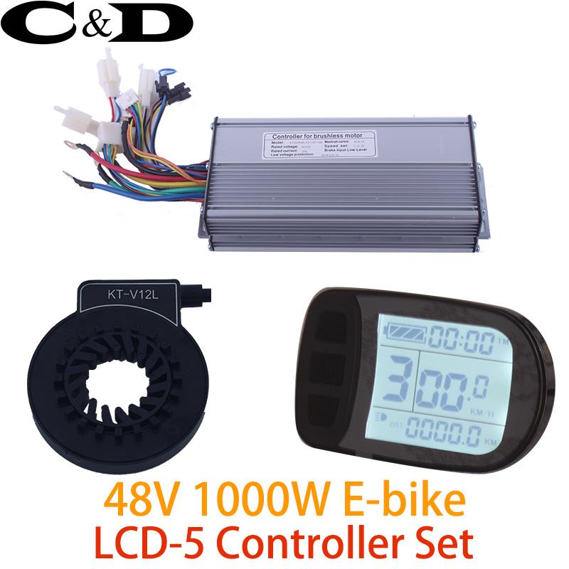 48V 1000W 40A Controller LCD LCD5 display Meter PAS Set E bike Conversion kit Sine wave