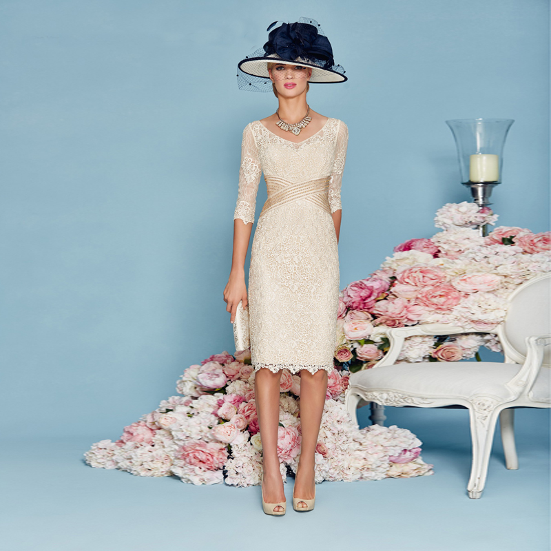 Champagne-Elegant-Vestidos-de-Festa-with-Half-Sleeves-Jacket-Sheath-Mother-of-the-Bride-Dress-Knee