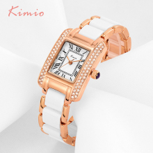 KIMIO Retro Roman Rectangle Rhinestone Simulation Ceramic Bracelet Ladies Watches Top Brand Luxury Rose Gold Womens Watches Sale
