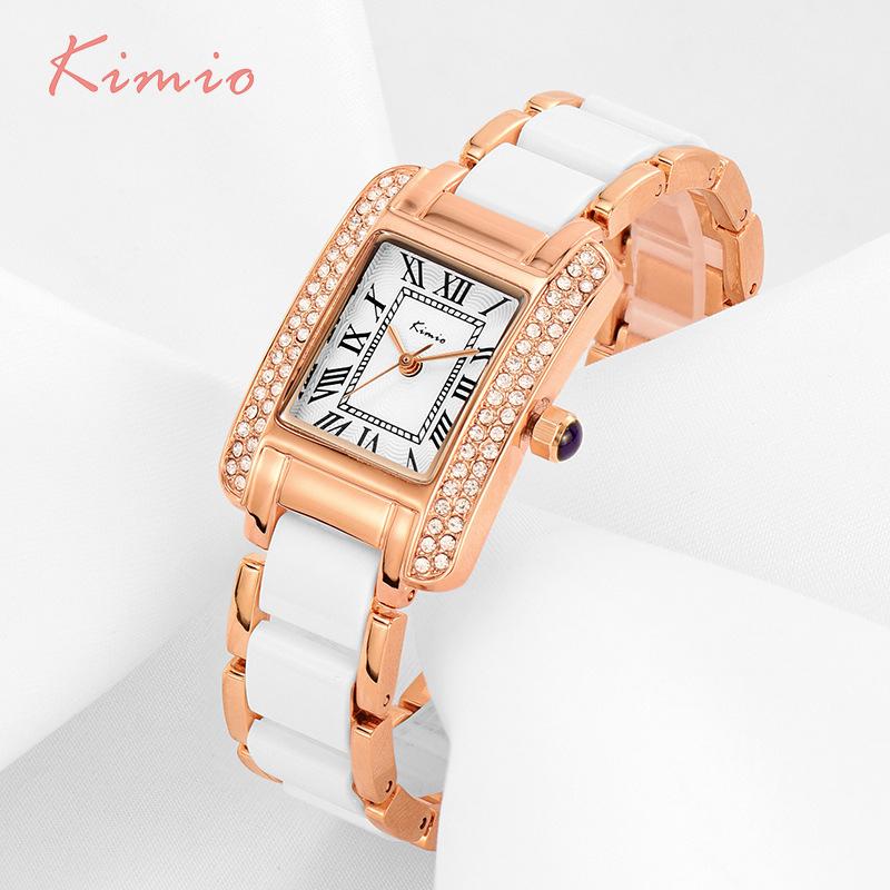 Prix pour Kimio rétro romain rectangle strass simulation en céramique bracelet dames montres top marque de luxe or rose femmes montres vente