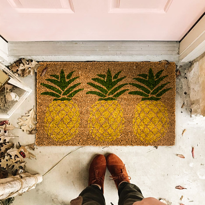 Tapis de sol anti-dérapant sol cuisine tapis antidérapant extérieur tapis ananas porche paillasson nordique chic pastorale fleur floral maison