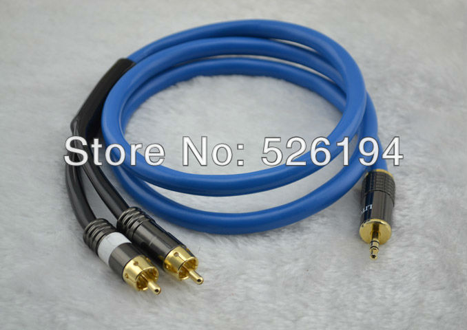 Free shipping 1M siltech G5 SQ-88B Stereo Audio Cable 3.5mm Male to 2 RCA Male for Subwoofer TV Speaker new liton 6n sivel plated 1m stereo audio cable 3 5mm male to 2 rca male for subwoofer tv speaker