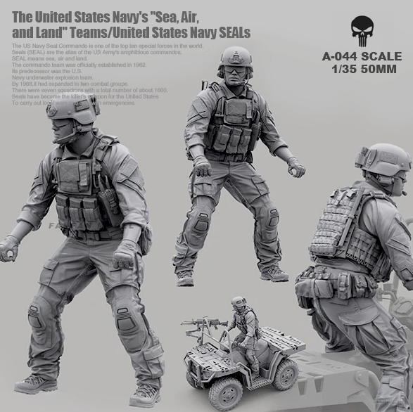 1/35 Resin Kits Modern American Navy Seal Commando Resin Soldier Driver Self-assembled A-044