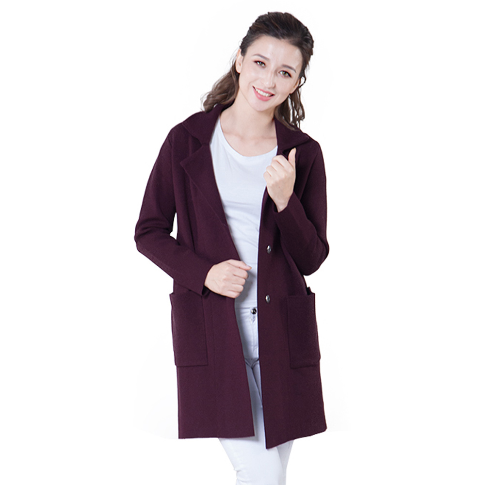 YHKGG 2018 New Women Casual Long Knitted Cardigan Solid Color Pocket Design Thick Sweater Femme Jackets Coat