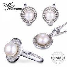 Jewelrypalace anillo de perlas de agua dulce pendiente colgante y 45 cm conjunto 925 joyas de plata de la cadena fine jewelry set para la mujer