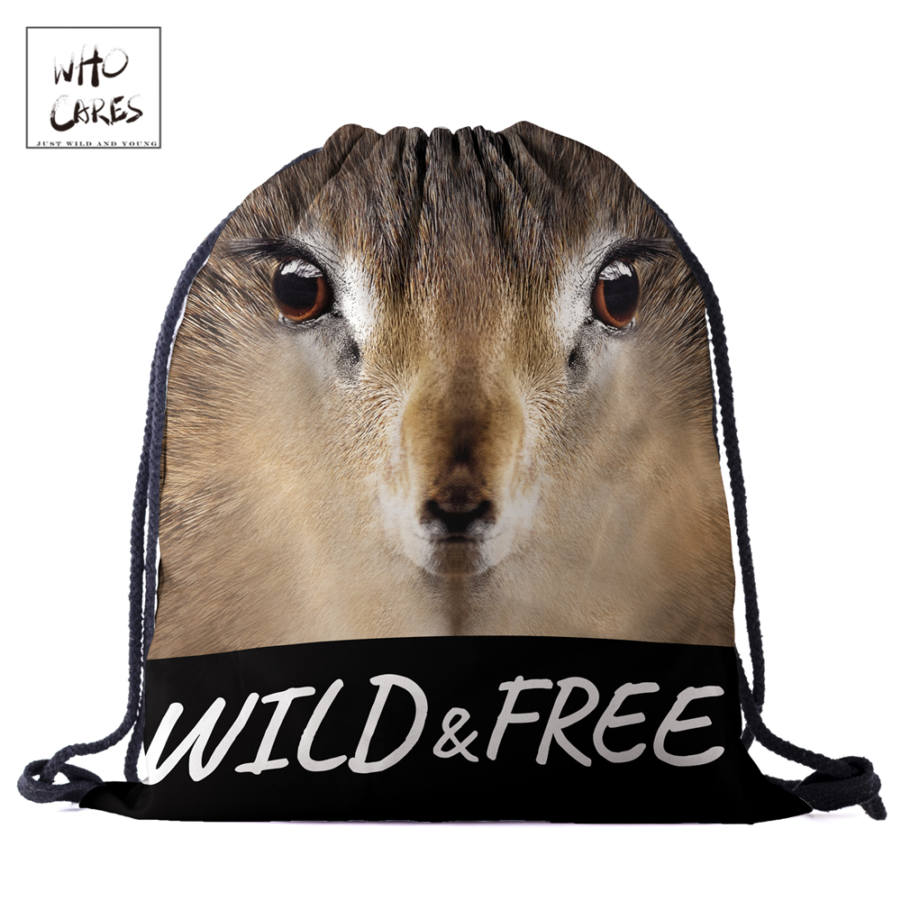 WHO CARES New fashion Backpack squirrel 3D printing travel softback bag drawstring bag Portable backpacks-in Backpacks from Luggage & Bags