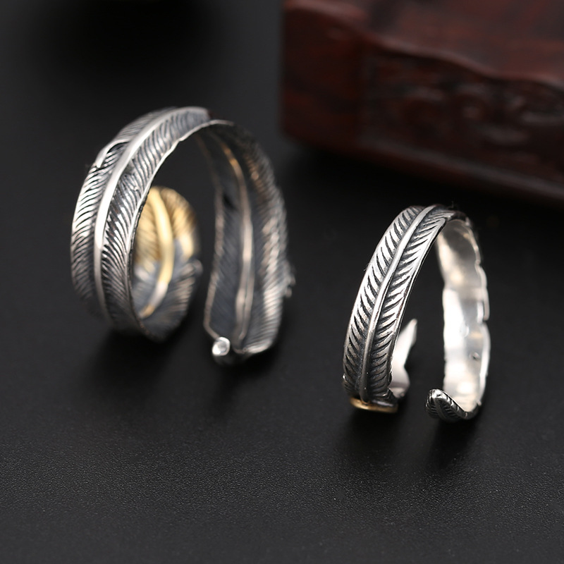 100 Real 925 Sterling Silver Retro Indian Feather Open Adjustable Couple Rings for Men Women Fine Jewelry in Rings from Jewelry Accessories