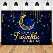 NeoBack Twinkle Little Star Backdrop Blue Sky Golden Moon Decorated Backdrops Kids Birthday Party Photo Props
