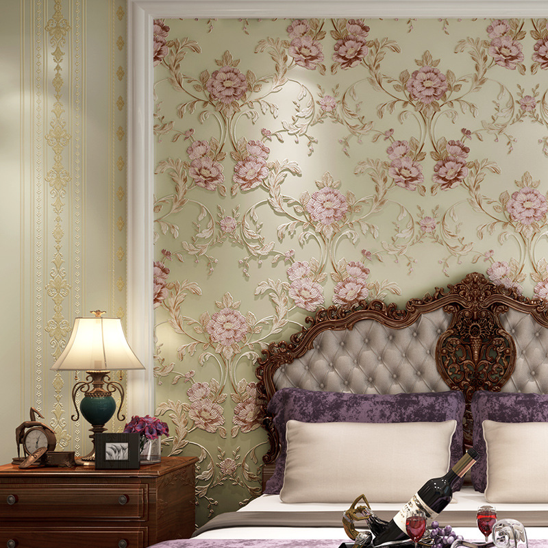 US $43.55 33% OFF|European style large flower AB stripes Reliefs carved  wallpaper wedding master bedroom high end wallpaper tapety Beibehang-in ...
