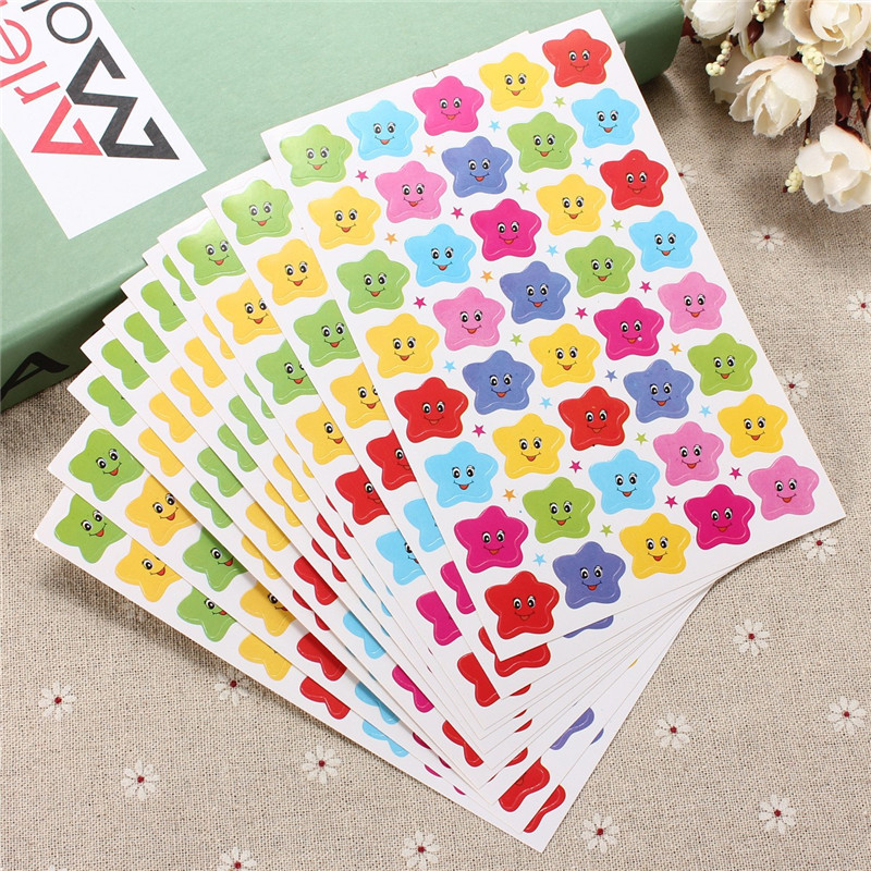 10pcs 400 Smile Stars Smiley Faces Stickers Decal Childrens School Teacher Useful Gift Reward Well Done Stickers Scrapbook Decor