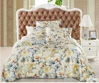 Printed 4 Pcs Pure Silk Satin Bedding Set Silk Duvet Cover Flat Sheet And Pillowcases Duvet