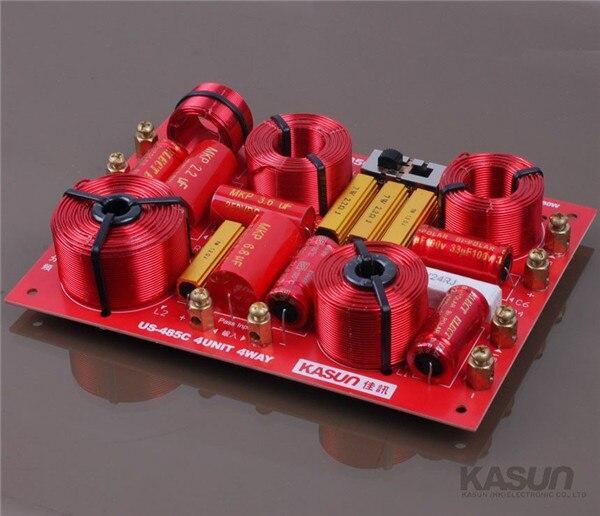 ФОТО 1pcs KASUN 4 way HI-FI audio Frequency divider Crossover US-485C tweeter/Mid/woofer 230W for HIFI amplifer speaker