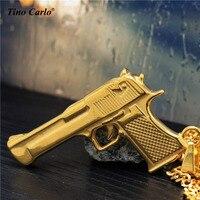 Tino Carlo Tough Guy Exército Pistola Colar Solild do Homem de Aço 3D Grande Revólver Colar Legal Hip Hop Declaração Colar 70 CM JF1207
