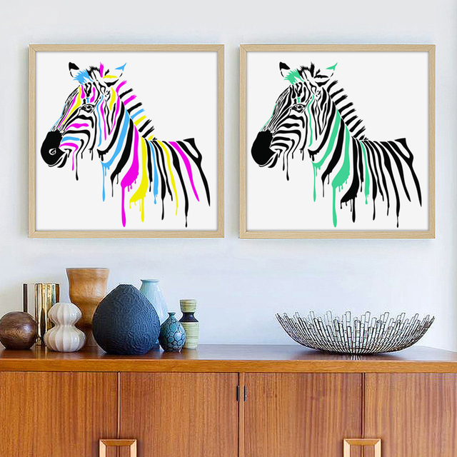 Bianche Wall Modern Simple Animal Zebra Watercolor Canvas Painting Art  Print Poster Wall Picture For The