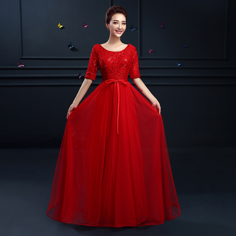 Elegant O Neck Lace Half Sleeves Long Evening Dress Red Plus Size