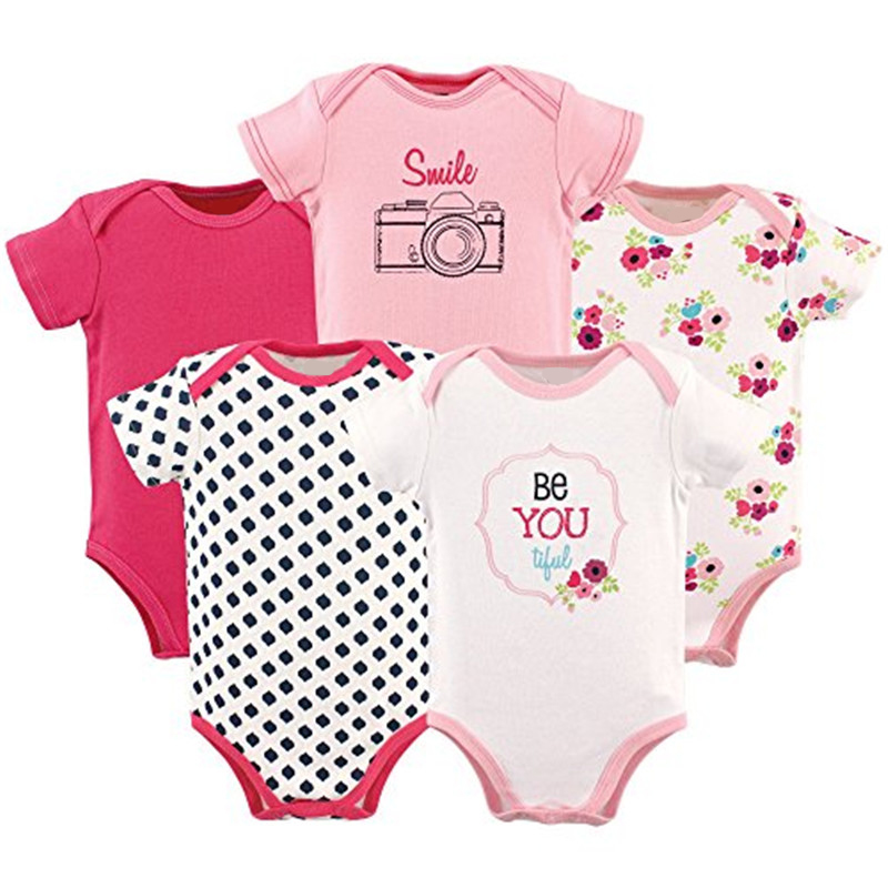 5Pcs/Lot Baby Clothing for Girls Cut Unisex Baby Boy Girl Clothes Short-sleeve Rompers Body Bebe 100%Cotton O-neck baby boys girls clothes newborn bebe rompers costume short sleeve ropa de bebe 100%cotton clothing 5pcs lot unisex 0 9months