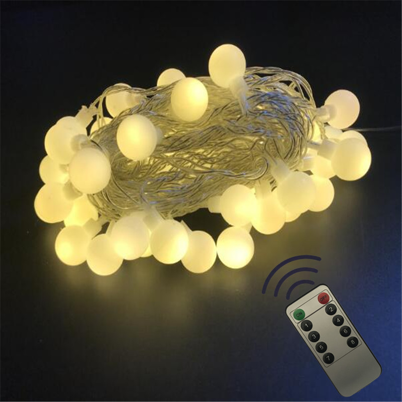 YIcolor 7.5M NEW Outdoor Wireless Remote Control Garland Fairy LED Globe Ball String Lights Wedding Home Garden Holiday Decor