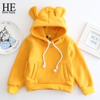 HE Hello Enjoy Children's Hoodies Winter Warm Girl Sweater 2017 Girl Clothes Long Sleeve Bear Hat Boy Hooded Hoodie Kids Costume