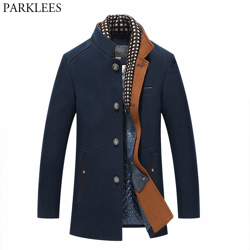 Dicker Mens Graben Mäntel 2017 Winter Lange Wolle Graben Mantel Männer Slim Fit Casual Jacken Peacoat Doppel Kragen Woll Mantel