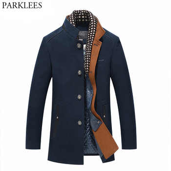 Thicker Mens Trench Coats 2017 Winter Long Wool Trench Coat Men Slim Fit Casual Jackets Peacoat Double Collar Woolen Overcoat - DISCOUNT ITEM  20% OFF All Category