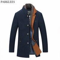 Thicker Mens Trench Coats 2017 Winter Long Wool Trench Coat Men Slim Fit Casual Jackets Peacoat Double Collar Woolen Overcoat