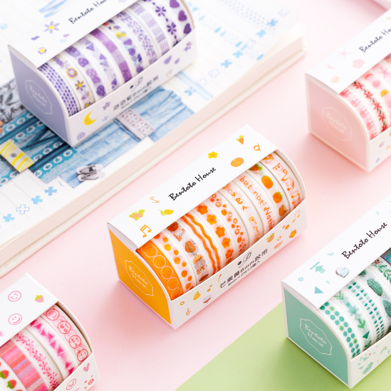 10pcs Fresh Color Basics Bullet Journal Handbook Diary DIY Decorative Washi Tapes Set Scrapbook Supplies Stickers Scrapbooking