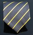 Темно-синий шелковые галстуки для мужчин ручной работы класса люкс мужские желтый полосатый новое поступление corbatas gravatas pajaritas галстук шерсть аскот