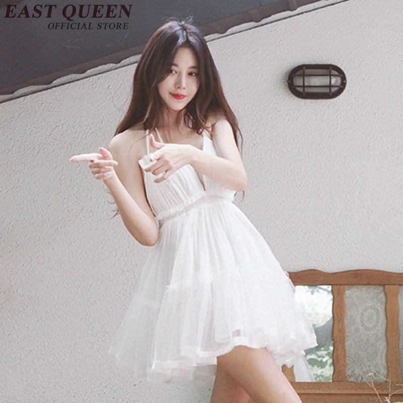 8c27bed19 Sexy babydoll branco vestido de renda mini UMA linha de renda branca túnica  com decote em. R  126