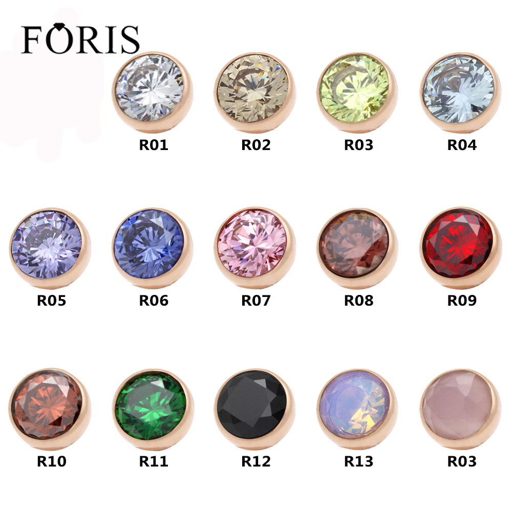 FORIS 14 Colors Fashion Jewelry Twisted Zetting Zircon Ring Head Accessories PC002