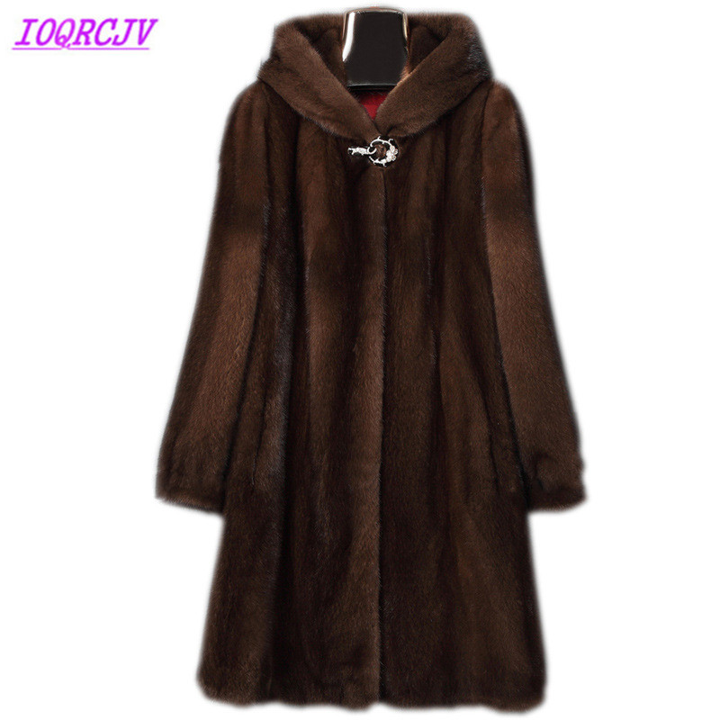 Mink fur coat women 2018 autumn and winter Plus size 6XL Fur coat Hooded Long coat Thick warm female top winter IOQRCJV H411