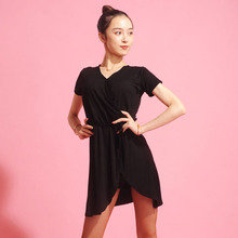 369cffc7b Danza Latina vestido negro manga corta Modal Split falda señoras Rumba  Samba Dancing ropa mujeres salón desgaste práctica DNV104.