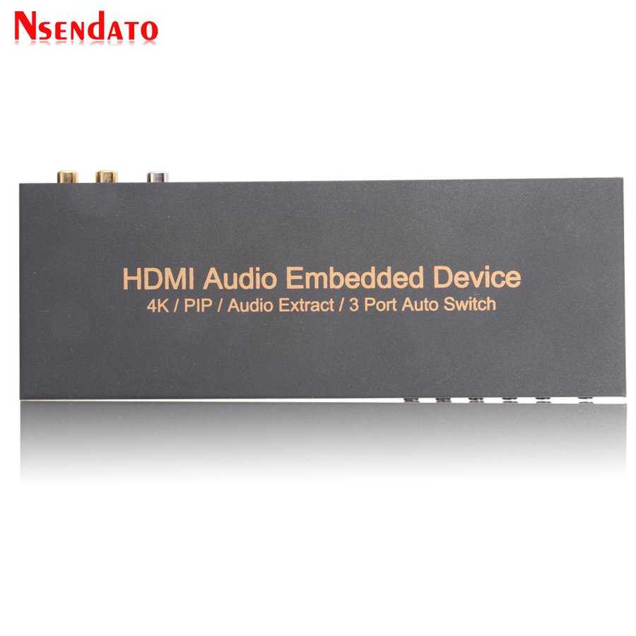 HDMI 3X1 Audio Embedded Extractor Switcher Digital Toslink Coaxial Optical HDMI Audio Converter Support 4k 1080P ARC PIP AC3 5.1